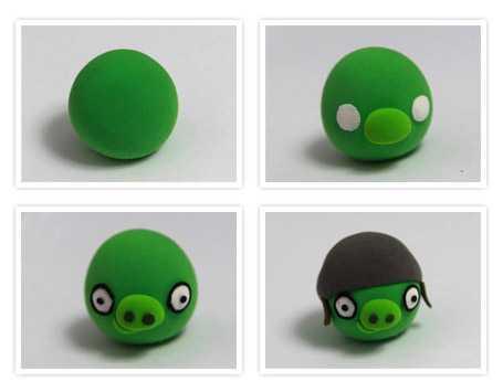 憤怒的小鳥橡皮泥 憤怒的小鳥之綠皮豬橡皮泥手工制作圖片